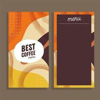 melhor cartão modelo de menu de café vetor