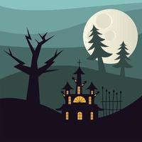 casa assombrada de halloween e pinheiros à noite desenho vetorial vetor