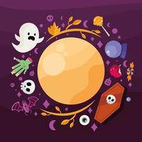 desenhos animados de halloween em torno do desenho vetorial da lua