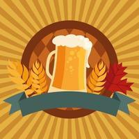 copo de cerveja oktoberfest com desenho vetorial de fita vetor