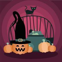 gato de halloween no portão com tigela de bruxa e desenho vetorial de abóboras vetor