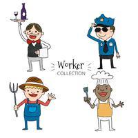 Cute, trabalhadores, jogo, cobrança