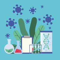 projeto de pesquisa de vacina contra coronavírus com materiais químicos vetor