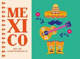 celebração do dia da independência do México com desenho vetorial de guitarra e botas de chapéu vetor
