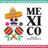 celebração do dia da independência do México com caveira vetor