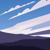 montanhas e céu azul com fundo de nuvens vetor