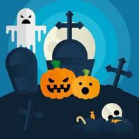 abóboras de halloween e fantasmas em um desenho vetorial de cemitério