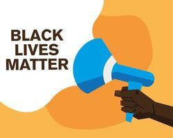 banner de matéria de vidas negras com desenho vetorial de megafone vetor