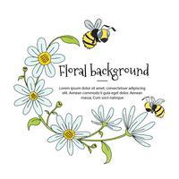 Quadro Floral fofo com flores brancas e abelhas vetor