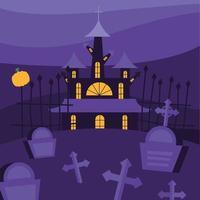 casa assombrada de halloween e cemitério à noite vetor