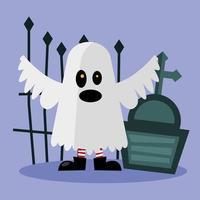 desenho de fantasma de halloween com desenho vetorial grave vetor