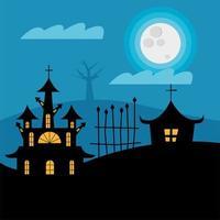 Halloween casas assombradas com portão à noite desenho vetorial vetor