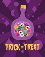 doces ou travessuras dentro de um desenho vetorial de garrafa vetor
