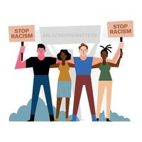 vida negra importa demonstração com pessoas juntas vetor