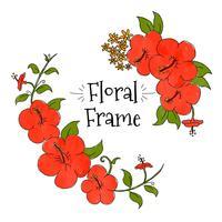Quadro Floral Vermelho Cayenne vetor