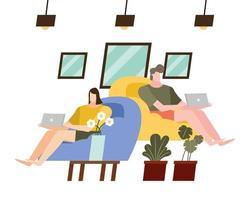 mulher e homem com laptop em cadeiras em casa desenho vetorial vetor