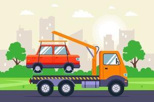 evacuação de um carro com um guindaste de caminhão de reboque em uma rua da cidade. ilustração vetorial plana. vetor