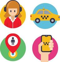 ícones redondos para táxis. operador, carro, mão com telefone, marca de pouso. ilustração em vetor plana