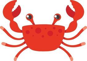 caranguejo vermelho sobre um fundo branco. ilustração vetorial de personagem plana