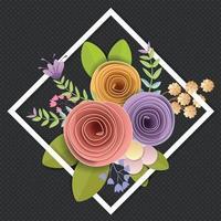desenho vetorial e ilustração. artesanato flores de papel, primavera, outono, casamento e bouquet floral festivo dos namorados, cores brilhantes do outono, clipart da natureza isolado no fundo branco, enfeite decorativo. vetor
