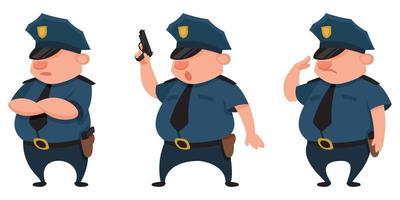 policial em diferentes poses. vetor