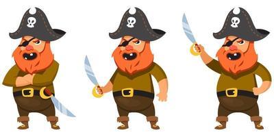 pirata em diferentes poses. vetor