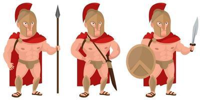 guerreiro espartano em diferentes poses.