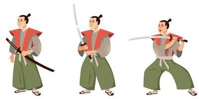 samurai em diferentes poses. vetor