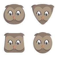 conjunto de corujas de desenho animado. vetor