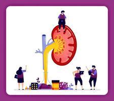ilustração de design para doenças renais e tratamento. detalhe dentro do rim para pesquisa, educação e medicina. o design pode ser usado para website, web, página de destino, banner, aplicativos para celular, ui ux, pôster vetor