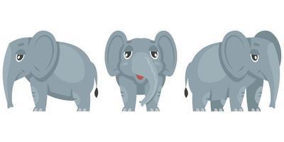 elefante bebê em diferentes poses. vetor
