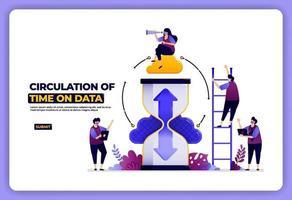 design da página de destino de circulação de dados com base no tempo. agendamento de acesso a dados. projetado para página de destino, banner, site, web, pôster, aplicativos móveis, página inicial, mídia social, folheto, folheto, interface do usuário vetor
