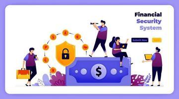 sistema de segurança financeira em transações bancárias e digitais globais. ilustração vetorial para página de destino, banner, site, web, pôster, aplicativos móveis, ui ux, página inicial, mídia social, folheto, brochura vetor