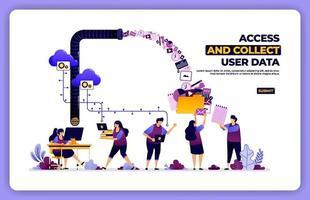cartaz vetorial de acesso e coleta de dados do usuário. gerenciar a atividade de experiência do usuário. projetado para página de destino, banner, site, web, pôster, aplicativos móveis, página inicial, mídia social, folheto, folheto, interface do usuário vetor