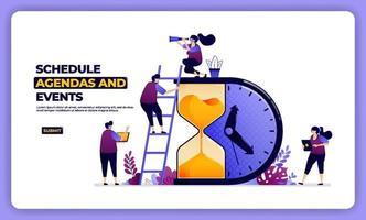 desenho de ilustração da agenda e efeito do cronograma. gestão de trabalho e férias. projetado para página de destino, banner, site, web, pôster, aplicativos móveis, página inicial, mídia social, folheto, folheto, interface do usuário vetor