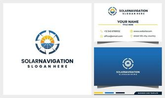 navegação de bússola com conceito de logotipo de energia de painel solar e modelo de cartão de visita vetor