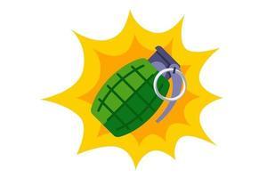 explosão de uma granada de combate verde. ilustração em vetor plana isolada no fundo branco.