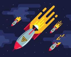 muitos mísseis nucleares no céu noturno. ataque agressivo. terceira guerra mundial. ilustração em vetor plana