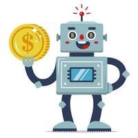 um robô de ferro segura uma moeda na mão. renda passiva. programa de trabalho automatizado. ganhos na internet. personagem de vetor plano