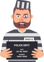 o criminoso capturado está segurando uma placa com o nome para uma foto de identificação. ilustração em vetor personagem.