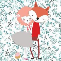 Amante fofo raposa e cordeiro em flor de primavera sem costura padrão