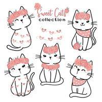 coleção de gatos bonitos dos namorados, cartoon doodle clipart plana para o dia do amor dos namorados, doce gato branco com flor rosa vetor