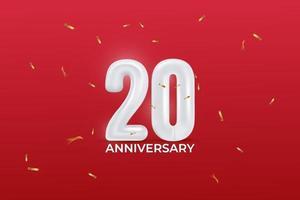 Celebração do 20º aniversário. ilustração vetorial com número de balão, confetes cintilantes sobre fundo vermelho. vetor