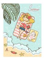 linda garota de cabelo amarelo de biquíni e jeans tomando banho de sol no mar com o gatinho fofo branco no verão vetor