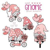 doce gnomo fofo no chapéu rosa na bicicleta com coleção de balões de coração, casal amante gnomo amor conjunto de elementos valenti.ne vetor