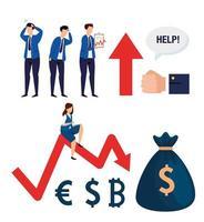 conjunto de ícones de queda do mercado de ações