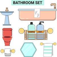 conjunto de banheiro em cor pastel de linha plana perfeito para banheiro de design vetor