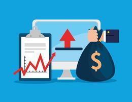 Quebra do mercado de ações com computador e ícones