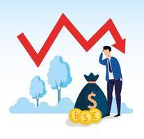 Quebra do mercado de ações com empresário preocupado e ícones