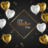 modelo de banner do dia dos namorados, ilustração vetorial com balões realistas